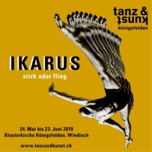 ikarus-Bild Tanz und Kunst Königsfeldenmit Tänzer vor gelbem Hintergrund